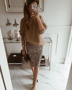 how to style a leopatd pencil skirt : heels brown knit sweater - fashion & acces. - how to style a leopatd pencil skirt : heels brown knit sweater – fashion & accessories – - Mode Outfits, Winter Outfits, Casual Outfits, Fashion Outfits, Womens Fashion, Skirt Fashion, Casual Shoes, Casual Chic, Work Fashion