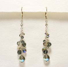 Black Crystal Earring, Long Dangle Earring, Charcoal, Black Bridesmaid Jewelry, Long Black Earrings