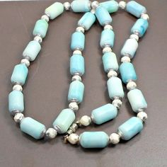 Necklace swirling sea foam blue tube beads white silvery crystals 23 inch strand #Unbranded #StrandString