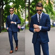 Stylish slim fit blue suit. Remember every man should always have a blue suit.