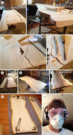 A fake wood slab table custom made out of plywood.