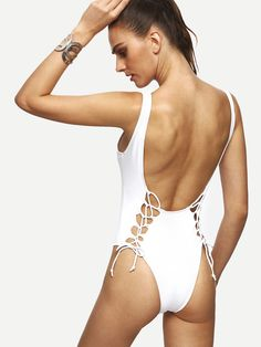 27fa19271ec Shop White Lace Up Scoop Back One Piece Swimwear online. SheIn offers White  Lace Up
