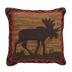 Rustic living, cozy cabin must have, this Moose Hooked Pillow Cover measures 18 square from Park Designs. Even Dad's den would welcome this woodland moose. Pillow Set, Pillow Covers, Red Armchair, Moose Decor, Stylish Chairs, Colourful Cushions, Lodge Style, Red Walls, Bedroom Accessories
