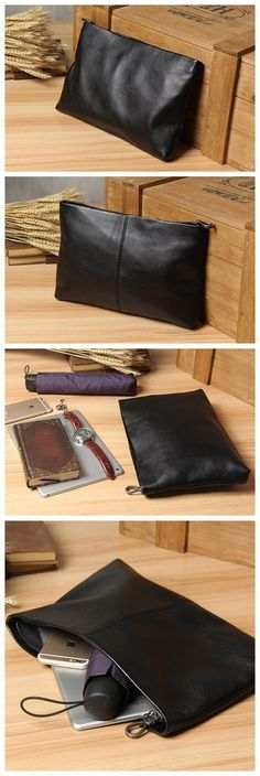 Business Style Men Clutch Bag Large Capacity Zipper Long Wallet Clutch Bag LU