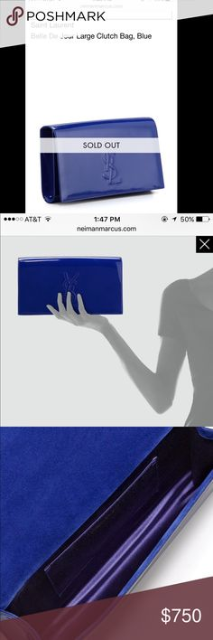100% Authentic Belle De Jour Saint Laurent Clutch Purchased at Neiman marcus 100% authentic saint Laurent belle de jour ROYAL BLUE patent leather clutch as you can see I compared it to my other ysl clutch it's a little bigger and it's the same size as my lv speedy(you can see In the pic) if poshmark authenticity is needed I'm up for it bc this is 100% authentic! I've only held it once let me know if you need more pics or anything. Little tags are seen in pics comes w dustbag. Dimensions are…