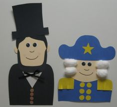 Abraham Lincoln and George Washington templates for a Presidents' Day project and bulletin board display.