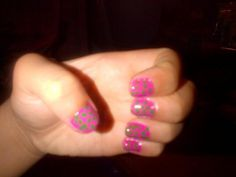 My pink nails w/ green polka dots. Watermelon & candy dots inspired. <3 xx