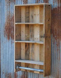 Pallet Wall Shelves And Towel Rack  -  #palletprojects  ---  #pallets   ----   http://alittlebitofthisthatandeverything.blogspot.com/