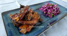 5 Ingredients: Sticky Five-Spice Pork Ribs with Red Cabbage Slaw - Wholesome Cook Cabbage Slaw, Red Cabbage, Summer Finger Foods, Chilli Spice, Rib Marinade, Barbecue Pork Ribs, Paprika Pork, Good Food, Spices