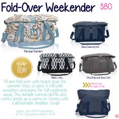Fold-Over Weekender by Thirty-One. Fall/Winter 2015. Join my VIP Facebook Page at https://www.facebook.com/groups/JennaBrandes/