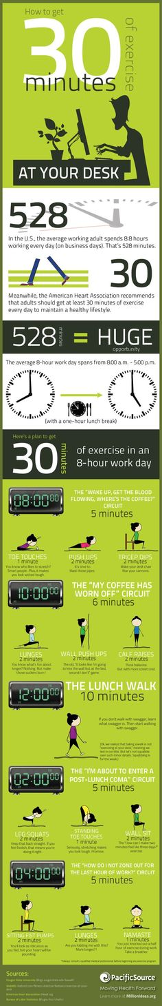 30 Minutes of activity- just make sure you don't have an audience for some of these. #officeactivity #exercise #officefitness