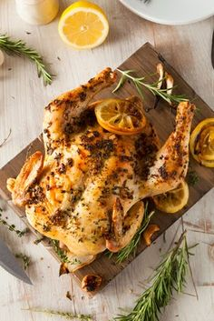 Lemon and Herb Roasted Chicken in the crockpot slow cooker. Save the bones for homemade chicken stock!
