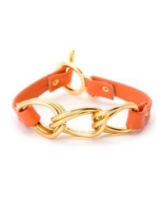 Orange & Gold Chain-Link Leather Bracelet by gorjana