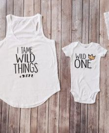Mommy and Me matching shirts, Wild One, Where the Wild things are, I tame Wild things, Mom Shirt, First Birthday Shirt, Matching Outfit by KyCaliDesign on Etsy https://www.etsy.com/listing/475610691/mommy-and-me-matching-shirts-wild-one