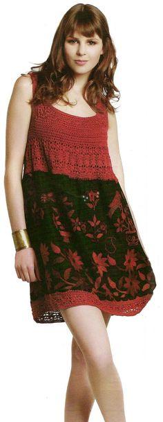 Vestido de crochet confeccionado con mezclas - Patrones Crochet