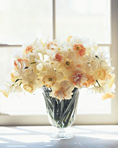 Soft Daffodil Arrangement  Here, white daffodils are arranged in a simple vase, which showcases the beauty of the flowers with their different-hued centers. Daffodils release a substance harmful to other flowers, so they are best kept to themselves in arrangements.