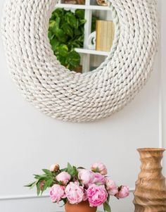 Drift Bliss Solid Oak Hardwood and Glass Hanging Wall Vase for Indoor Plants Wall and Ceiling vases for Decor in Modern Interior Design with Well Laid Out Rope and a Solid Steel Ring.