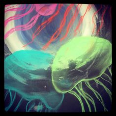Glowing jelly fish art lesson Teach about how to make something look see through 3d? Fluorescent paint and chalk pastel on black