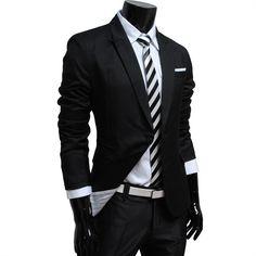 TheLees Mens casual peak lapels 2 button jacket blazer