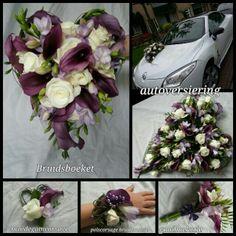 bruidsboeket paars/lila/wit