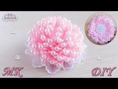 Пышный бант с бусинами из узких лент/ Lush bow with beads. Kanzashi DIY - YouTube
