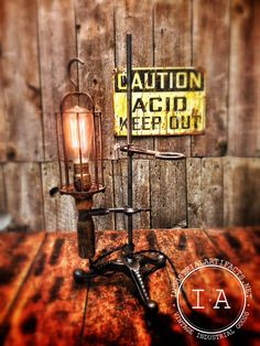 Vintage Industrial Antique Lab Stand Wire Cage Trouble Drop Desk Lamp w/ Wooden Handle Reclaimed. $279.00, via Etsy.