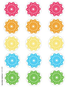 Free Printable | Papel Picado-Inspired Cupcake Toppers ©PaperSocial-Cinco-de-Mayo-Cupcake-Toppers