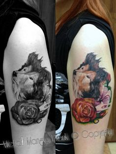 dogz and flowers tattoo. lots of ink tattoo koszalin. asylumART.