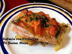 Supremas de Salmón con Verduritas, De Buena Mesa http://denuestracasa.blogspot.com.es/2014/07/supremas-de-salmon-con-verduritas.html