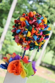 DIY Table Decoration - Styrofoam Ball, Balloons and Pins on Ribbon Wrapped Dowel