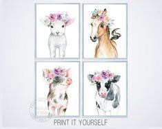 Baby Farm Animal Prints set 4 Floral Farmhouse Girl Nursery Wall Decor Barnyard Animal Watercolor Art Portrait Baby Cow Lamb Pig Horse #yrsalka #etsy #farmtheme #farmbabyshower #farmnursery #girlnursery #painting
