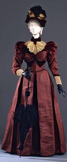Two-piece dress, Sartoria Elena Parenti, Pisa, Italy, ca. 1890. Silk faille with burgundy velvet lining & trim.
