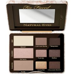 Too Faced Natural Eyes Neutral Eye Shadow Palette ($36) ❤ liked on Polyvore featuring beauty products, makeup, eye makeup, eyeshadow, beauty, fillers, cosmetics, multi, too faced cosmetics and palette eyeshadow