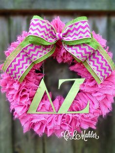 Delta Zeta Sorority pink burlap wreath by CLMahler on Etsy, $75.00....Would love for next year's Founders Day (which is today, so I missed doing it this year!)