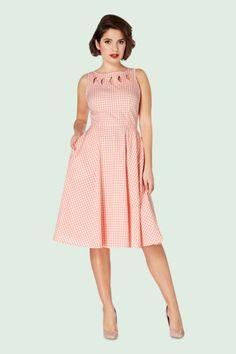 Vixen Peach Gingham Summer Swing Dress 102 29 15253 20150208 0008Pop3V