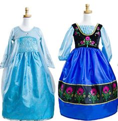 Elsa and Anna Inspired Dress Up Set - buy both as a set and save! PREORDER - order now for July shipment!  Affordable - non-itchy - no worries about glitter all over the place - machine washable - perfect for every day dress up! #Frozen #Elsa #Anna #princess #dressup #costume #party