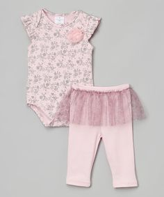 This White & Pink Floral Bodysuit & Leggings - Infant is perfect! #zulilyfinds