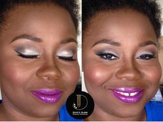 Gorgeous makeup on brown skin! Silver and blues shadows