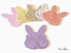 Crochet rabbit coasters Colorful coasters Small by CreArtebyPatty