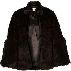River Island - Black faux fur tied cape