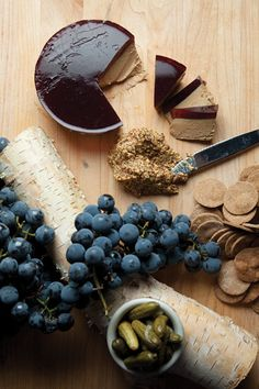 A tart Concord grape gelée offsets the richness of these goose liver terrines. See the recipe Foie Gras, Charcuterie, Chutney, Mousse, Grape Recipes, Liver Recipes, Healthy Recipes, Chicken Liver Pate, Spiced Pecans
