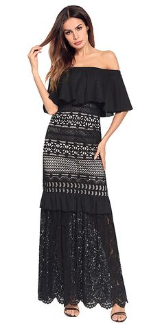 In Stock Elegant Lace Off-the-shoulder Neckline A-line Prom Dress