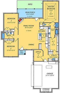 Spacious Open Floor Plan - 83842JW | Architectural Designs - House Plans