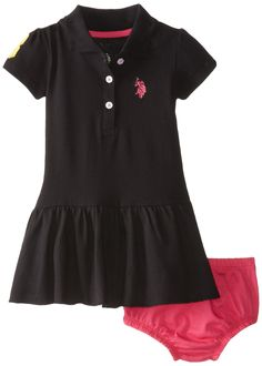 U.S. Polo Assn. Baby-Girls Infant Solid Baby Pique Scalloped Hem Polo Dress, Black, 12 Months