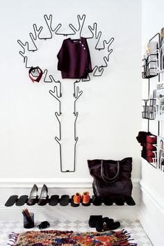 Get inspired by stylish furniture from Maze Interior. Smart storage solutions for interior use, such as hooks, hangers, tables, shelves and benches. Metal Coat Hangers, Swedish Design, Shelf Design, Kinds Of Shoes, Staying Organized, Shoe Closet, Wall Shelves, Shelving, Maze
