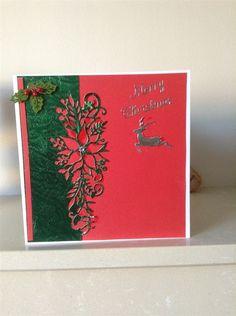 Inspiration | docrafts.com Cas Christmas Cards, Homemade Christmas Cards, Green Christmas, All Things Christmas, Diy Christmas, Craft Cards, Diy Cards, Poinsettia, Cardmaking