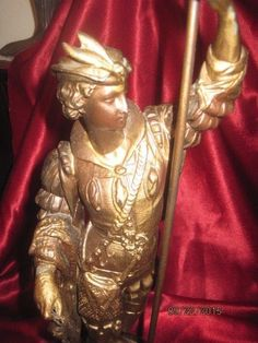 Antique Spelter Sculpture with Gilt finish, Cavalier with fish