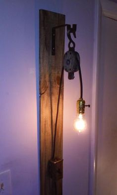 Vintage pulley lampIndustrial Rustic Lamp by UpcycleMiami, $195.00