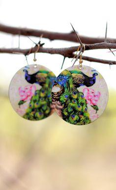 Indian Peacock art print earrings round metal by DesipotliJewels, $7.90