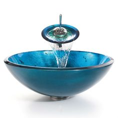 Add a pop of color to your bathroom with this Round Blue Tempered Glass Vessel Bathroom Sink designed to exude modern elegance. This vessel sink is handcrafted with solid tempered glass. The sturdy gl